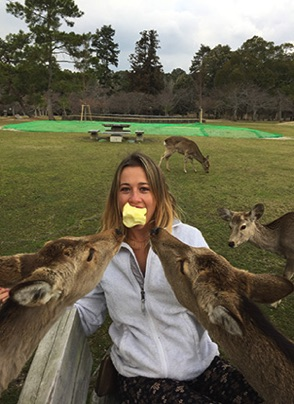 Marie-with-deer-friends-in-Japan